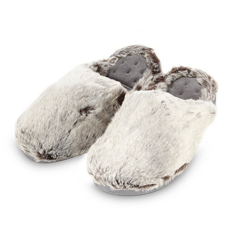 Isotoner - Online exclusive grey faux fur mule slippers