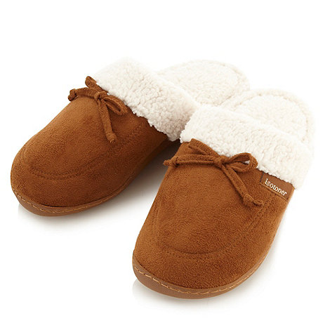 Isotoner - Tan borg lined mule slippers