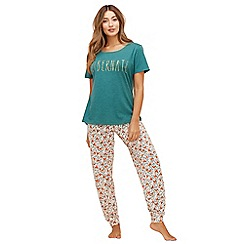 Lounge & Sleep - Green fox print cotton blend short sleeve pyjama set