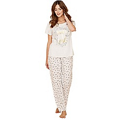 Lounge & Sleep - Cream dandelion print pure cotton short sleeve pyjama set