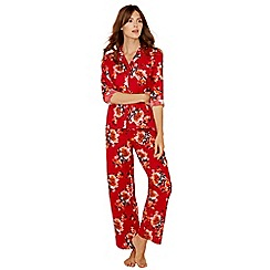 Lounge & Sleep - Red floral print cotton long sleeve pyjama set