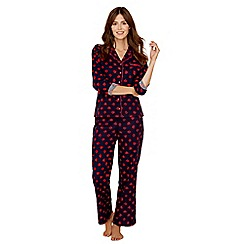 Lounge & Sleep - Navy spot print cotton blend long sleeve pyjama set