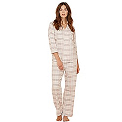 Lounge & Sleep - Ivory check print pure cotton long sleeve pyjama set