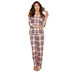 Lounge & Sleep - Taupe check print pure cotton long sleeve pyjama set