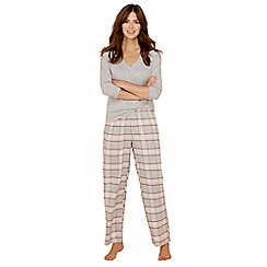 Lounge & Sleep - Petite grey check print cotton blend long sleeve pyjama set