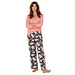 Lounge & Sleep - Pink floral print cotton blend long sleeve pyjama set