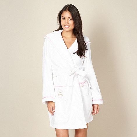 Lipsy - Online exclusive white short +goddess+ fleece dressing gown