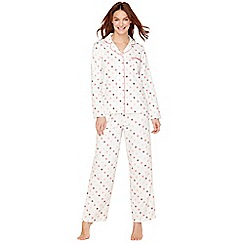 Lounge & Sleep - Cream spot print pure cotton pyjama set