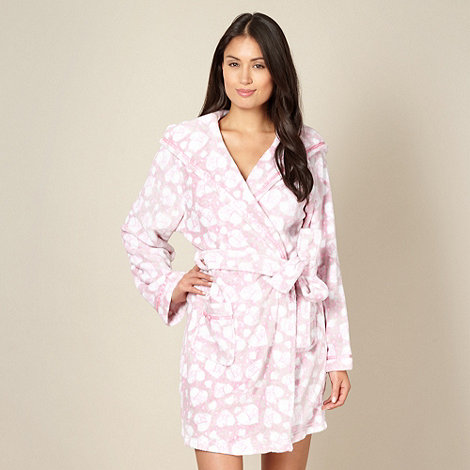 Lipsy - Online exclusive pink and light brown heart fleece dressing gown