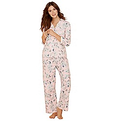 Lounge & Sleep - Pink floral print pure cotton long sleeve pyjama set