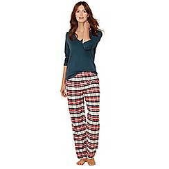 Lounge & Sleep - Green check print cotton blend long sleeve pyjama set