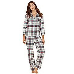 Lounge & Sleep - Green check print pure cotton long sleeve pyjama set
