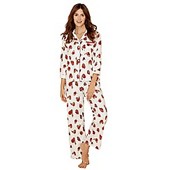 Lounge & Sleep - Cream robin print pure cotton long sleeve pyjama set