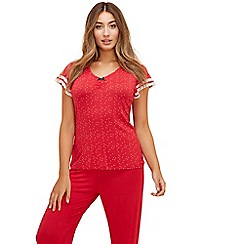 Lounge & Sleep - Red spot print short sleeves pyjama top