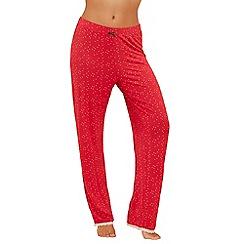 Lounge & Sleep - Red spot print pyjama bottoms