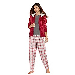 Lounge & Sleep - Dark pink heart print pyjama set