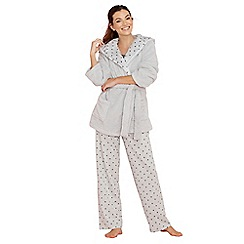 Lounge & Sleep - Grey star print cotton blend pyjama set