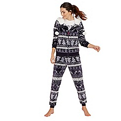Lounge & Sleep - Navy Fair Isle print pyjama set