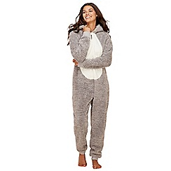 Lounge & Sleep - Tall grey bear embroidered fleece long sleeve onesie