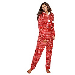 Lounge & Sleep - Petite red Fair Isle print fleece onesie