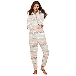 Lounge & Sleep - Pink Fair Isle print onesie