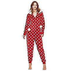Lounge & Sleep - Red polka dot print fleece onesie