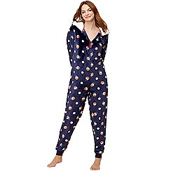 Lounge & Sleep - Navy Christmas pudding print fleece onesie