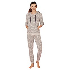 Lounge & Sleep - Light brown bear print long sleeve pyjama set