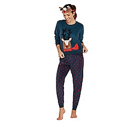 Lounge & Sleep - Green reindeer applique  fleece pyjama set with eye mask