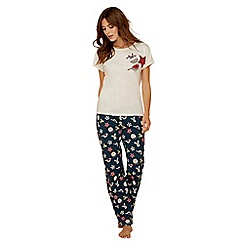 Lounge & Sleep - Cream woodland print pure cotton short sleeve pyjama set