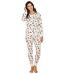 Lounge & Sleep - Cream woodland print cotton blend long sleeve pyjama set