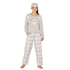 Lounge & Sleep - Grey bear embroidered long sleeve pyjama set with eye mask