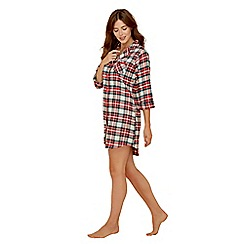 Lounge & Sleep - Red check print pure cotton long sleeve nightdress
