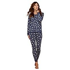 Lounge & Sleep - Navy snowflake print cotton blend long sleeve pyjama set