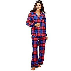 Lounge & Sleep - Navy blue check print pure cotton pyjama set with eye mask
