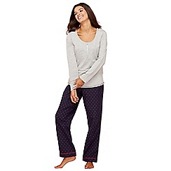 Lounge & Sleep - Grey star print cotton and modal blend pyjama set with eye mask