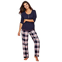 Lounge & Sleep - Navy check print cotton and modal blend long sleeve pyjama set with eye mask