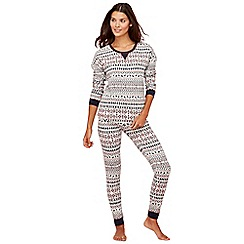 Lounge & Sleep - Cream Fair Isle print cotton blend long sleeve pyjama set