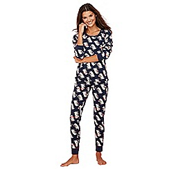 Lounge & Sleep - Navy badger print cotton blend long sleeve pyjama set