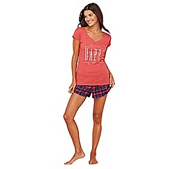 Lounge & Sleep - Red slogan print cotton blend short sleeve pyjama set