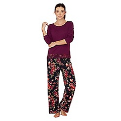 Lounge & Sleep - Purple floral print cotton and modal blend 'Ladylike' long sleeve pyjama set