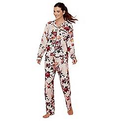Lounge & Sleep - Pink floral print cotton and modal blend 'Ladylike' long sleeve pyjama set