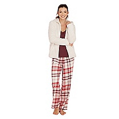 Lounge & Sleep - Cream check print pyjama set