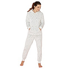 Lounge & Sleep - Grey leopard embossed fleece long sleeve pyjama set