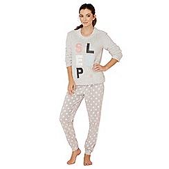 Lounge & Sleep - Grey spot print fleece long sleeve pyjama set