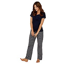Lounge & Sleep - Navy stripe print pure cotton short sleeve pyjama set