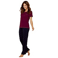 Lounge & Sleep - Purple butterfly print pure cotton short sleeve pyjama set
