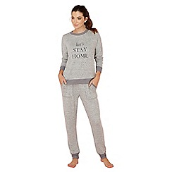 Lounge & Sleep - Grey slogan print long sleeve pyjama set