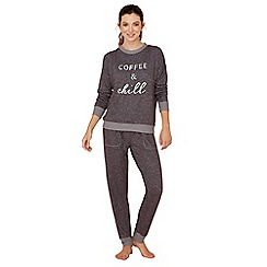 Lounge & Sleep - Dark grey slogan print long sleeve pyjama set