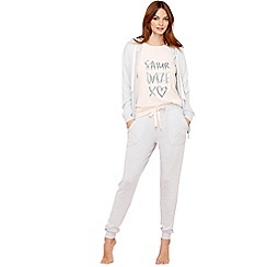 Lounge & Sleep - Light grey slogan print pyjama set